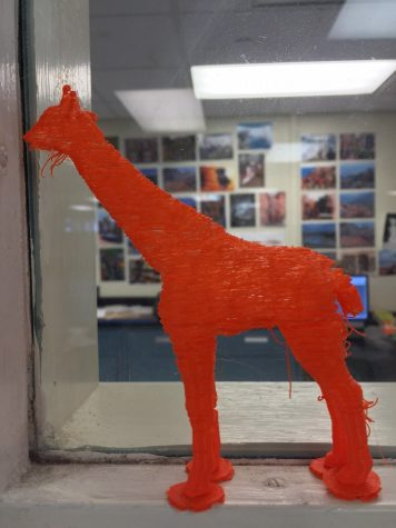 A 3D printed giraffe created by one of the SHS students
