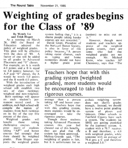 Round Table Archives : Weighted GPA Debate, 1985