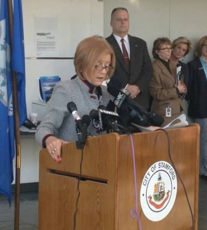 Superintendent Dr. Winifred Hamilton speaks at press conference.