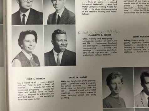 Charlotte Moser (left) in the Media Center's copy of the 1960 yearbook which bears a handwritten record of her brutal death. Marian Moser is not pictured in her yearbook.
