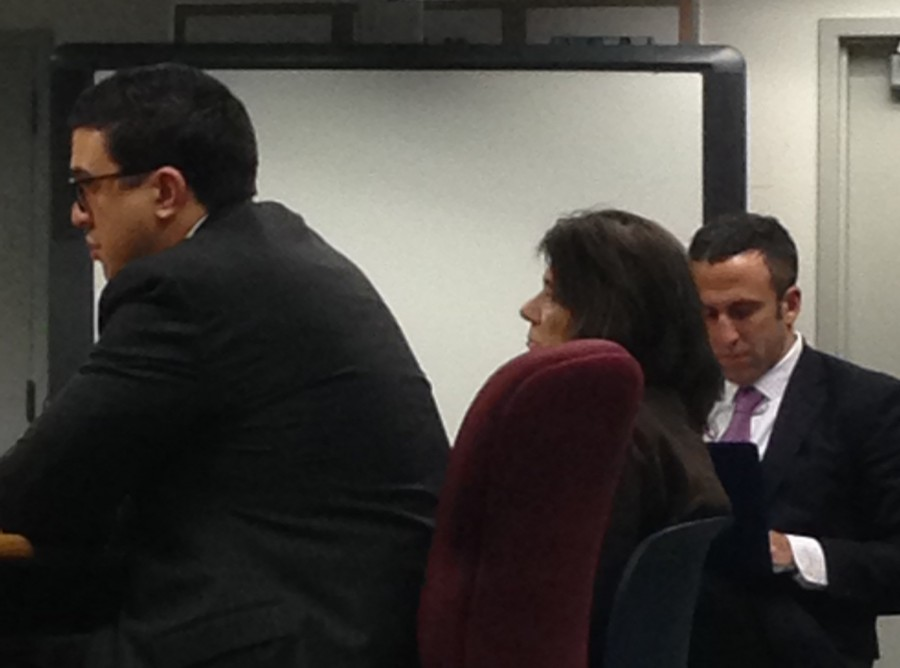 Donna Valentine (middle) during the termination proceedings with lawyers Ryan O'Neill (left) and Mark Sherman (right)