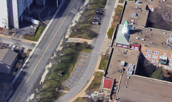 Aerial shot of Stamford High School (55 Strawberry Hill Avenue)