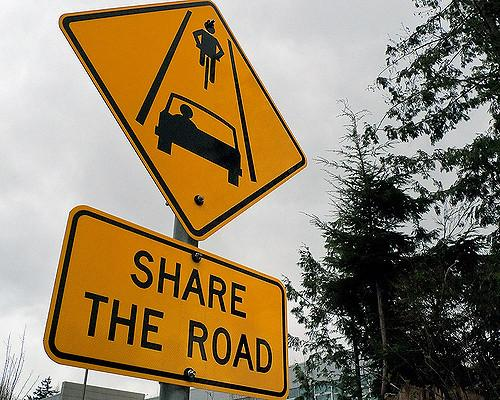 Share the road is a controversial policy concerning bikers and drivers.