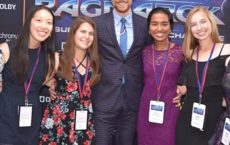 Some of the finalists stopped to pose with Tom Hiddleston on the red carpet before watching the Premiere of Thor: Ragnarok.