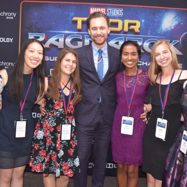 Some+of+the+finalists+stopped+to+pose+with+Tom+Hiddleston+on+the+red+carpet+before+watching+the+Premiere+of+Thor%3A+Ragnarok.