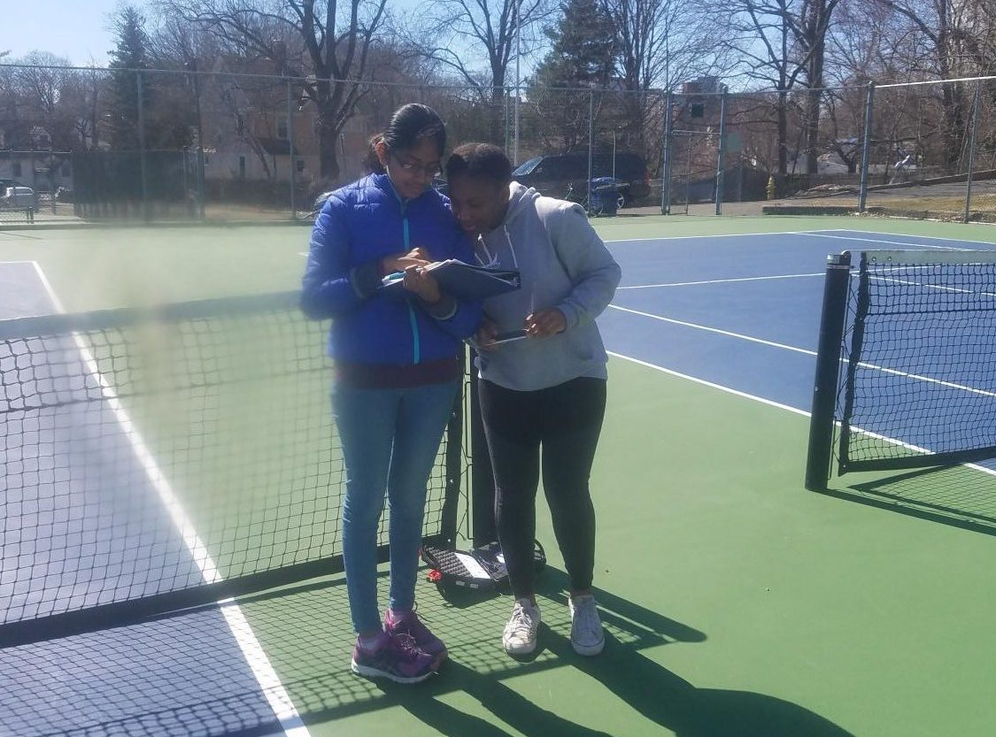 Stamford High School students measuring aerosols and temperature for the GLOBE Program