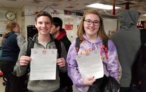 Seniors Sam Diamond and Sinead Martin advocated for senior privileges, displaying draft copies of letters that will be sent to parents in the coming days.