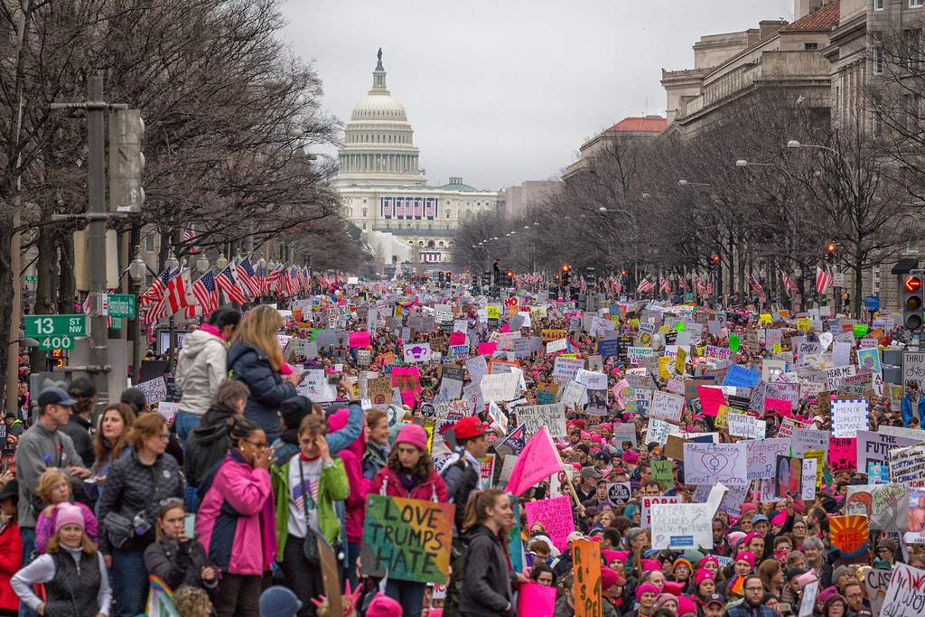 Thousands march in D.C. during the Women's March in Washington.