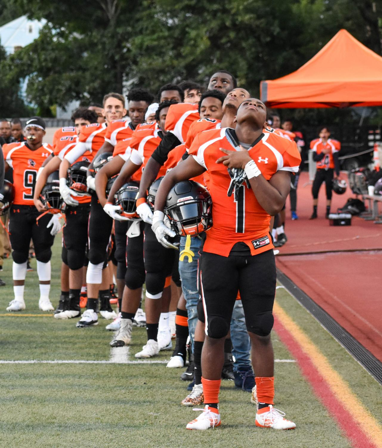 Stamford Football Team during the National Anthem.