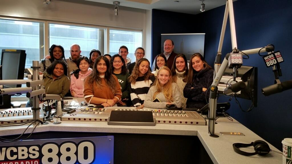 The Round Table staff inside the CBS radio studio building in NYC on November 13, 2019.