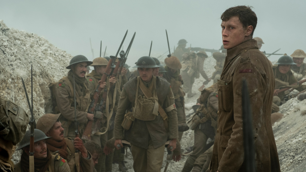 Schofield (George MacKay, foreground) with fellow soldiers in