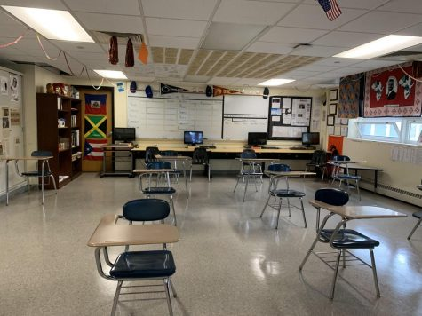 Classroom seating spaced six feet apart is one of several precautions Stamford High School has enacted to combat the spread of COVID-19.