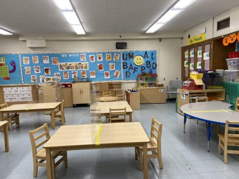 A classroom at Apples Preschool in Stamford, which has had to make accomodations in the wake of the pandemic.