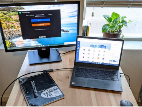 Two Screens for Teachers is an organization that awards teachers with an extra computer monitor to be used during remote learning. A sample teacher setup is pictured here.
